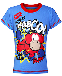 Little Kangaroos Half Sleeves T-Shirt with Monkey Print - Blue