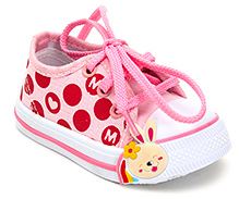 Cute Walk Canvas Shoe with Bunny Applique - Light Pink