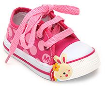 Cute Walk Canvas Shoe with Bunny Applique - Dark Pink