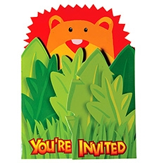 Wanna Party Jungle Animal Jumbo Invitation With Envelopes - Pack Of 8