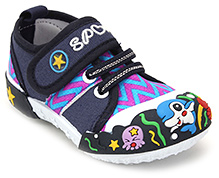 Cute Walk Canvas Shoe with Velcro Strap - Navy Blue