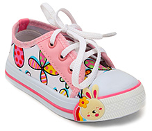 Cute Walk Canvas Shoe with Bunny Applique and Floral Print - Pink