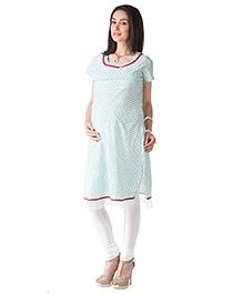 Morph Chudidar And Maternity Kameez Set - White And Green