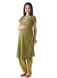 Morph Short Sleeves Maternity Kameez And Salwar Set - Green