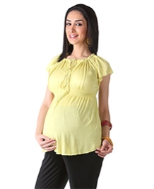Morph Yellow Raglan Sleeves Maternity Top - Size Small