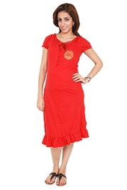 Morph Short Sleeves Quarter Length Nursing Gown - Red