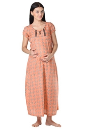 Morph Short Sleeves Full Length Nursing Gown - Orange