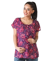 Morph Short Sleeves Casual Nursing Top - Violet