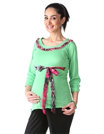 Morph Quarter Sleeves Lime Green Maternity Tee - Small