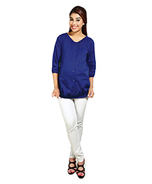Nine Quarter Sleeves Maternity Shirt with Gathered Neckline - Blue