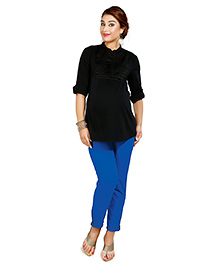 Nine Quarter Sleeves Maternity Shirt With Satin Pleated Yoke - Black