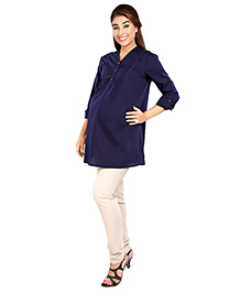 Nine Full Sleeves Maternity Top With Lace And Pleat Detailed Yoke - Blue