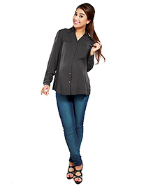 Nine Full Sleeves Maternity Formal Shirt - Grey