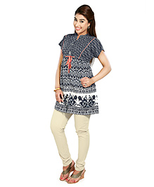 Nine Short Sleeves Maternity Tunic Top With Folk Print - Blue