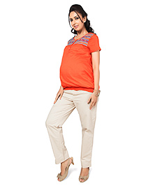 Nine Maternity Tribal Embroidery Top In Bright Orange