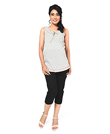 Nine Sleeveless Anchor Print Maternity Top