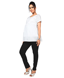 Nine Short Sleeves Maternity Wear Nursing Top With Center Front Access - White