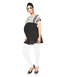 Nine Short Sleeves Maternity Tunic Top - Scarf Print - Size Medium