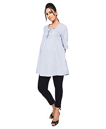 Nine Maternity Tunic Stripe Print With Roll Over Sleeves