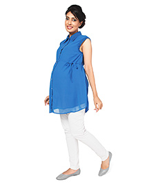Nine Sleeveless Formal Maternity Shirt with Front Button Access - Blue