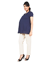 Nine Short Sleeves Matrenity Nursing Top - Blue