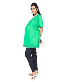 Nine Half Sleeves Maternity Tunic Top - Green - 25 To 40 Years
