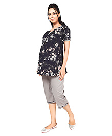 Nine Half Sleeves Maternity Nursing Lounge Wear Set - Floral Print