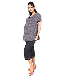 Nine Half Sleeves Maternity Nursing Lounge Wear Set - Star Print