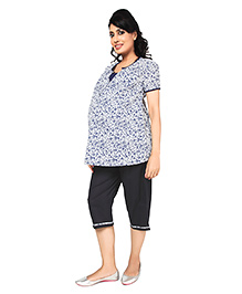 Nine Half Sleeves Maternity Nursing Lounge Wear Set In Bright White Print