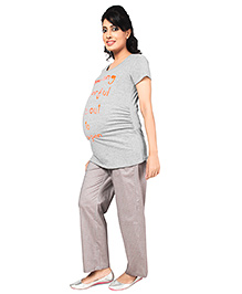 Nine Full Length Maternity Comfy Pyjama In Ditsy Print