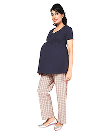 Nine Full Length Maternity Comfy Pyjama Check Print - Beige