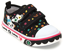 Cute Walk Printed Baby Shoes With Strap Closure - Black