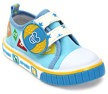 Cute Walk Printed Baby Shoes With Strap Closure - Sky Blue