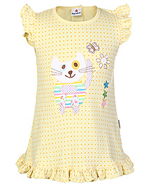 Child World Cap Sleeves Cat Printed Frock - Yellow