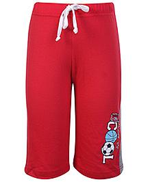 Taeko Printed Three Fourth Pant With Drawstring - Red