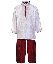 Babyhug Full Sleeves Pintex Kurta With Pathani - White And Maroon
