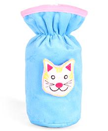 Babyhug Plush Bottle Cover Kitty Motif Large - Blue - 8 X 8 X 18 Cm