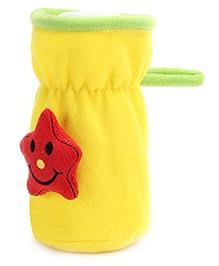 Babyhug Plush Bottle Cover Cute Star Motif Medium - Yellow