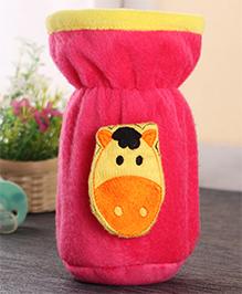 Babyhug Plush Bottle Cover Hippo Motif Medium - Pink