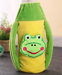 Babyhug Plush Twin Handle Bottle Cover - Frog Motif