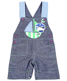 Little Kangaroos Ship Print Dungaree - Blue