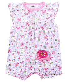 Carters Short Sleeves Elephant Print - White And Pink