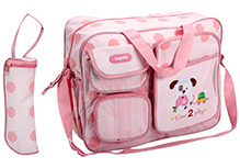 Fab N Funky Diaper Bag Pink - Time To Play Embroidery
