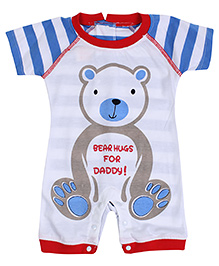 Little Kangaroos Half Sleeves Rompers - Bear Print