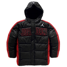 Jordan Full Sleeves Hooded Puffer Jacket - Black