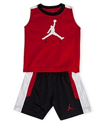 Jordan Sleeveless Jersey And Shorts Track Set Red And Black