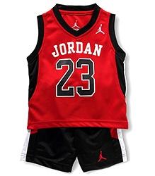 Jordan Sleeveless Jersey And Shorts Mesh Track Set Red And Black