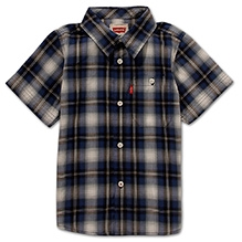 LEVIS Half Sleeves Shirt with Check Print - Navy Blue