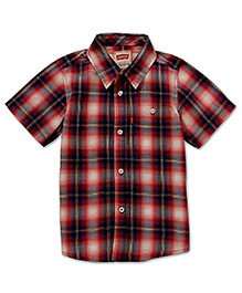 LEVIS Half Sleeves Shirt with Check Print - Red