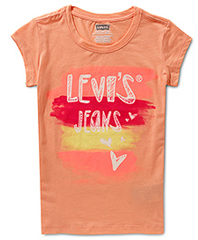 LEVIS Watercolors Graphic Short Sleeves Top Peach